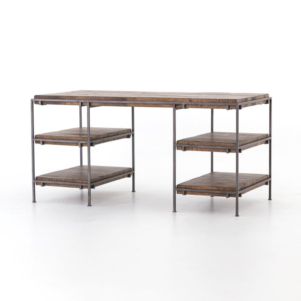 SIMEON DESK , Gunmetal, Weathered Hickory