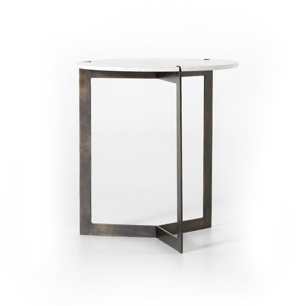 KEVA END TABLE,  Hammered Brass, Polished White Marble