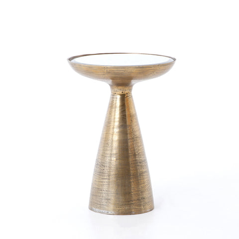 MARLAY MOD PEDESTAL TABLE, BRUSHED BRASS, ASH GLASS