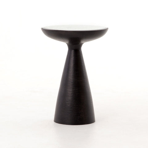 MARLAY MOD PEDESTAL TABLE,  BRUSHED BRONZE, ASH GLASS