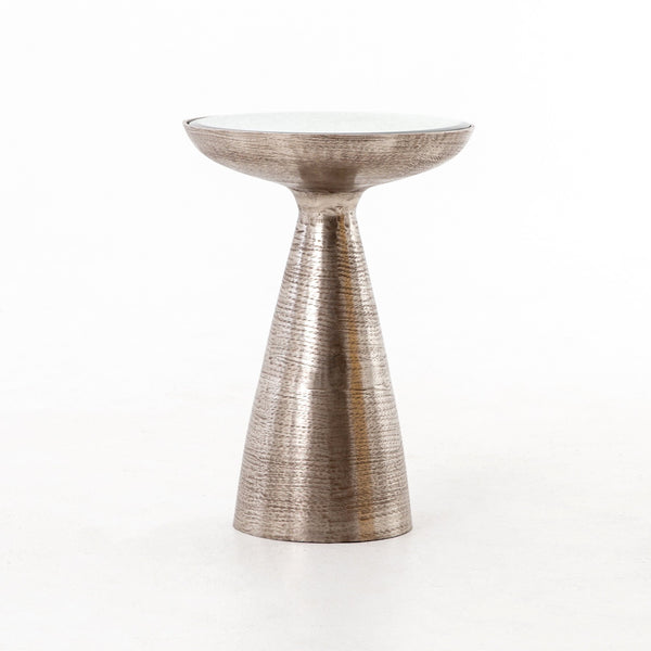 MARLAY MOD PEDESTAL TABLE, BRUSHED NICKEL, ASH GLASS