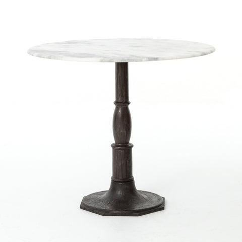 LISA BISTRO TABLE, CARBON WASH, WHITE MARBLE