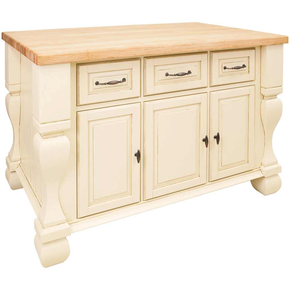 Kitchen Island - Tuscan Jeffrey Alexander Island Antique White by hardware resources - Rustic Edge - 1