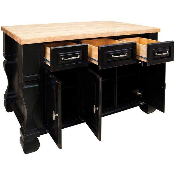 kitchen islands - Tuscan Jeffrey Alexander Island Distressed Black by hardware resources - Rustic Edge - 2