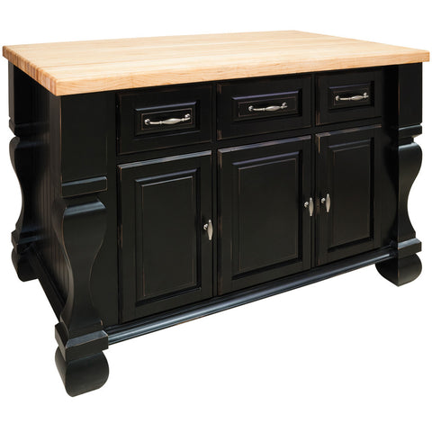 kitchen islands - Tuscan Jeffrey Alexander Island Distressed Black by hardware resources - Rustic Edge - 1