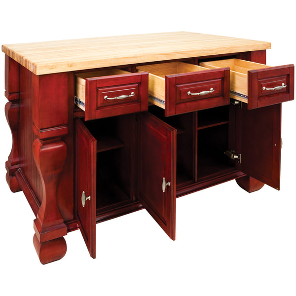 Kitchen Island - Tuscan Jeffrey Alexander Island Brilliant Red by hardware resources - Rustic Edge - 2