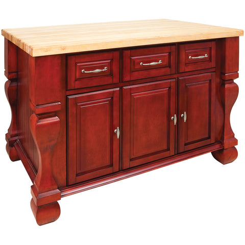 Kitchen Island - Tuscan Jeffrey Alexander Island Brilliant Red by hardware resources - Rustic Edge - 1