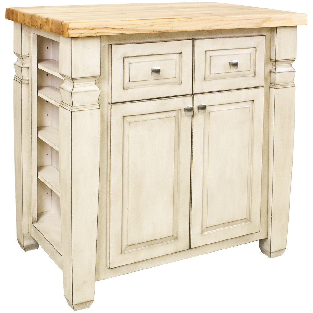 Kitchen Island - Jeffrey Alexander Loft Kitchen Island in French White by Hardware Resources - Rustic Edge - 1