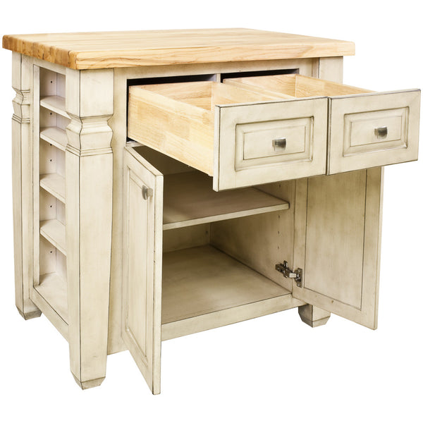Kitchen Island - Jeffrey Alexander Loft Kitchen Island in French White by Hardware Resources - Rustic Edge - 2