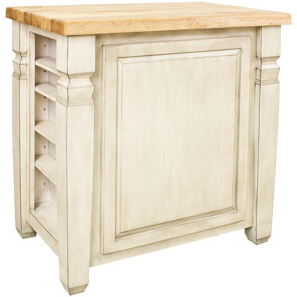 Kitchen Island - Jeffrey Alexander Loft Kitchen Island in French White by Hardware Resources - Rustic Edge - 3