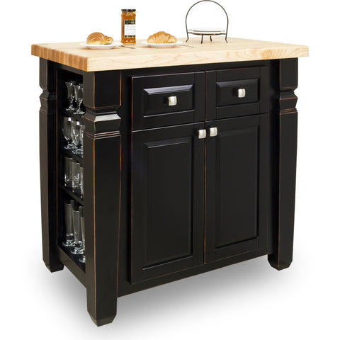 kitchen islands - Jeffrey Alexander Loft Kitchen Island in Aged Black by hardware resources - Rustic Edge - 1