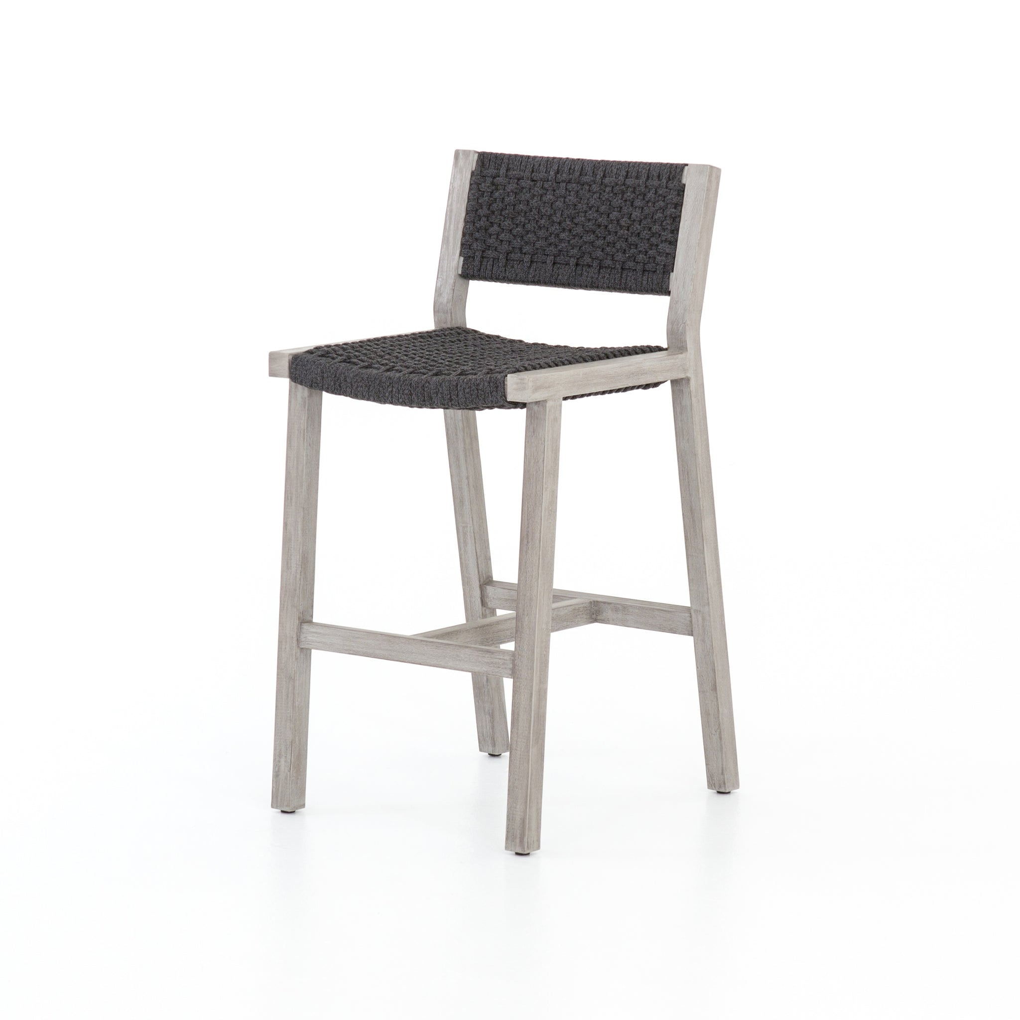 Leonardo Outdoor Teak Barstool - Weathered Grey