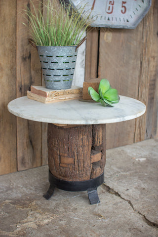 Kalalou Antique Wooden Axel Accent Table w/Marble Top NBF2258