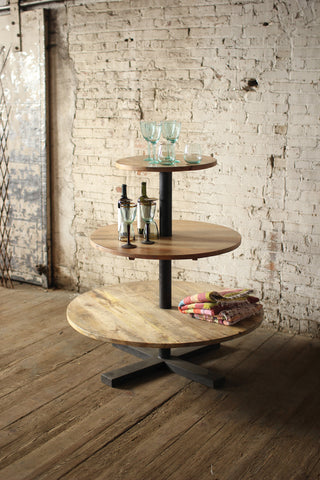 Kalalou Round 3 Tiered Mango Wood and Iron Display Tower NBH2209