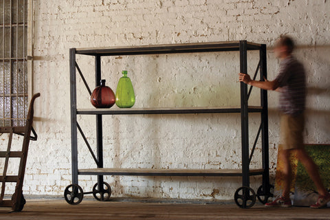 Kalalou Giant Iron and Wood Rolling Shelving Unit NJN1000