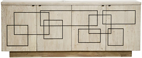 Burford Geometric Modern Lines Sideboard - Gray Wash - Rustic Edge