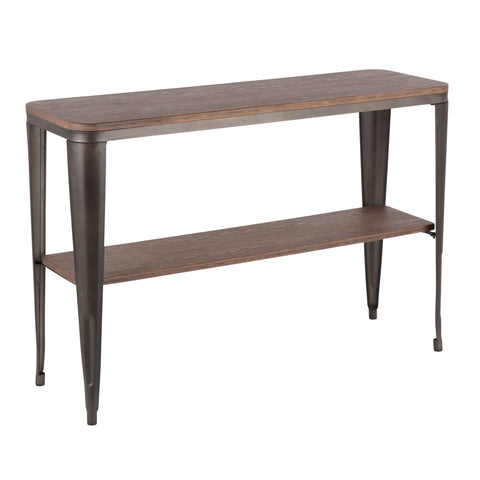 Urban Loft Industrial Console Table - Antique Metal and Wood
