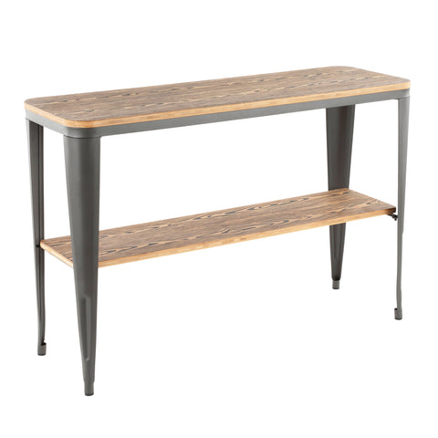 Urban Loft Industrial Console Table - Grey Metal and Wood