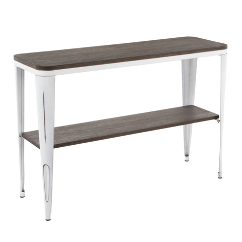 Urban Loft Industrial Console Table - Vintage White Metal and Wood
