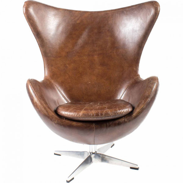 Arnie Club Swivel Chair - Dark Brown Leather