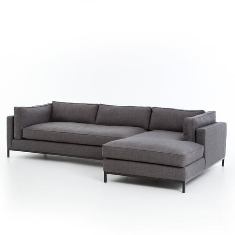 Percy Right Arm Chaise 2pc Sectional - Charcoal Grey