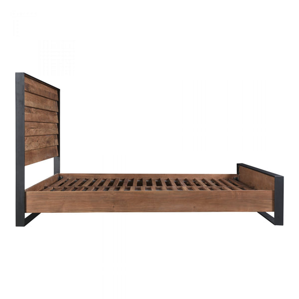Villa Solid Acacia Wood and Metal - King Bed - Rustic Edge