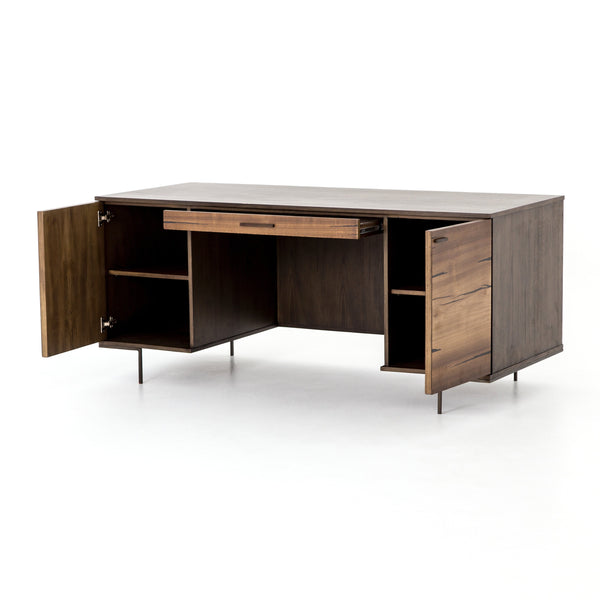 Axel Desk Yukas Wood Modern Executive Office Desk - Rustic Edge