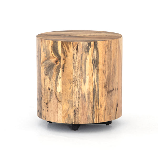 Houston Round Wood End Table - Spalted Primavera