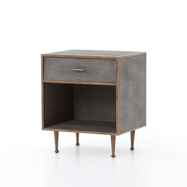 FARRUCO SHAGREEN BEDSIDE TABLE BRASS