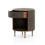 Farruco Shagreen Round Nightstand - Antique Brass