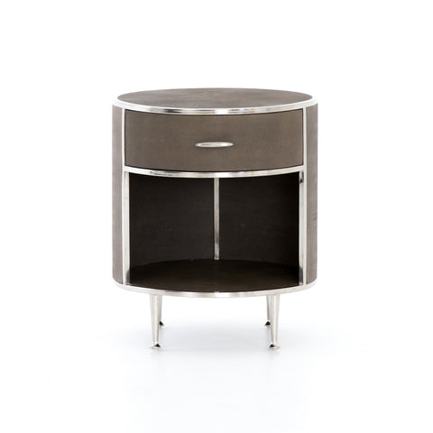 Farruco Shagreen Round Nightstand - Stainless Steel