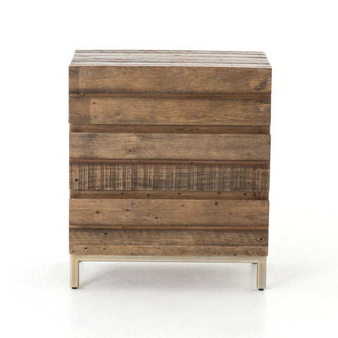 Timbu Reclaimed Nightstand with Brass Base