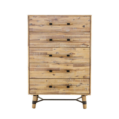 Florentine 5 Drawer Dresser/Chest - Acacia Wood