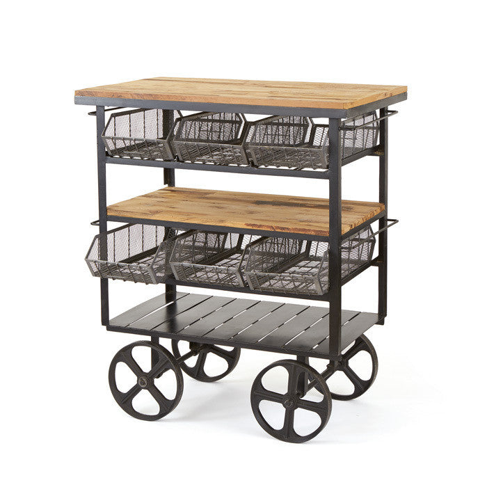 Antonia Deli Industrial Kitchen Cart - Rustic Edge