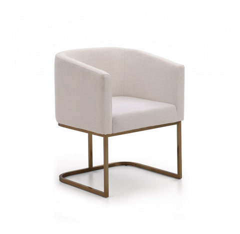 Adira White Antique Brass Chair