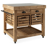 Kitchen Island - Belaney Rustic Lodge Honey Pine Wood Blue Stone 37 Inch Kitchen Island 006584 - Rustic Edge - 1