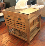 Kitchen Island - Belaney Rustic Lodge Honey Pine Wood Blue Stone 37 Inch Kitchen Island 006584 - Rustic Edge - 3