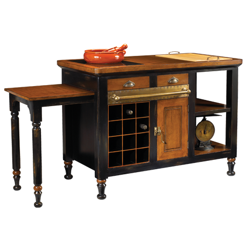 French Heritage Black Gourmet Kitchen Island M-FL39-199-BLK