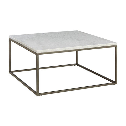 Alana Square White Marble Top Coffee Table - Rustic Edge