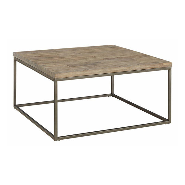 Alana Square Acacia Wood Top Coffee Table - Rustic Edge