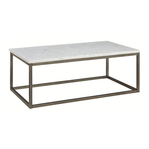 Alana Rectangular White Marble Top Coffee Table - Rustic Edge