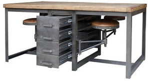 Terran Vintage Industrial Table - Rustic Black with Attached Seating