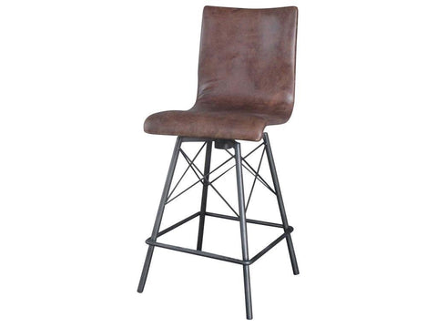 Alta Barstool Brown leather - Rustic Edge