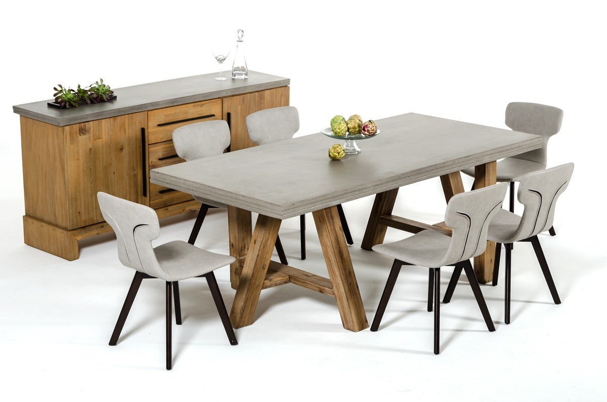 Modrest Civic Modern Concrete & Acacia Dining Set/Table, Buffet, Chairs