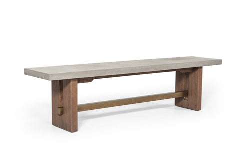 Amelia Concrete & Acacia Wood Dining Bench