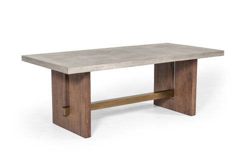 Amelia Concrete & Acacia Dining Table - Rustic Edge