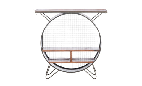 Kalalou Round Metal Console Cubby Bar Cabinet CQ6835