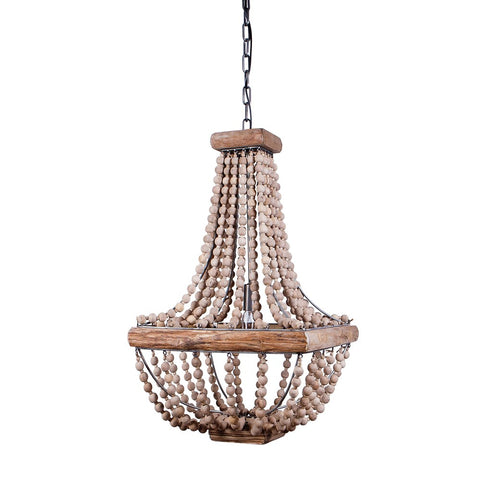 Jimney Nautical Metal and Wooden Beaded Chandelier