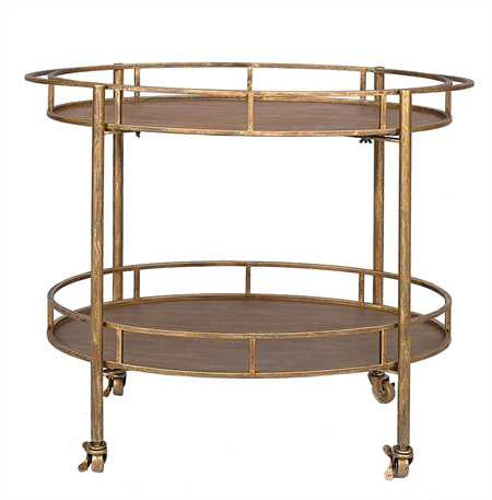 Creative Co-op Metal Oval 2-Tier Bar Cart, Gold DA2480