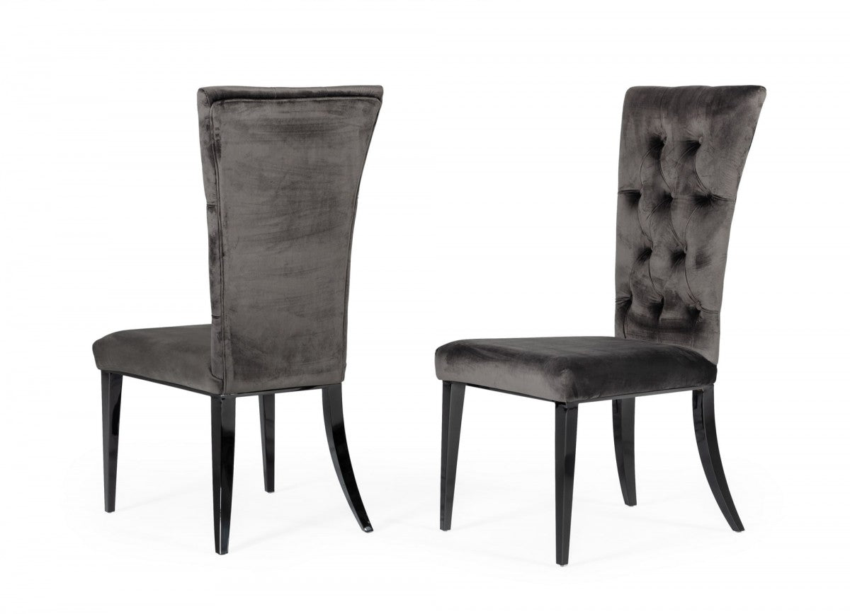 Leighard Grey Tufted Velvet Dining Chairs - Set of 2